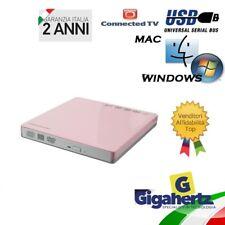 Masterizzatore Recorder DVD Esterno Slim Interfaccia USB 2.0 Rosa NUOVO