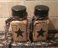 Primitive Crackle Tan & Black Star Salt & Pepper Set  Glass  Country Decor
