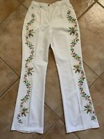 ESCADA Womens Sz 36 White Embroidered Leg Jeans Stretch Cotton Boot Cut Pockets