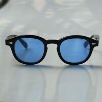 Retro SOILD Acetate Johnny Depp sunglasses hipster mens 1960's glasses blue lens