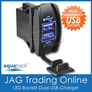 12V~24V DUAL USB SOCKET CHARGER BLUE LED CARLING STYLE SWITCH BOAT/CARAVAN/4x4