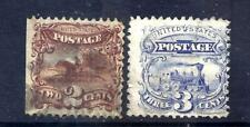 US Stamps - #113-114 - USED - 2&3 cent 1869 Pictorial Issues - CV $96