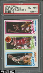1980 Topps Basketball Larry Bird Magic Johnson RC Rookie Julius Erving HOF PSA 8