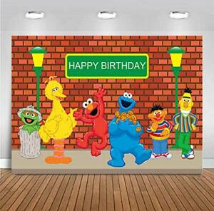 """Sesame Street Backdrop Birthday Party Cloth Banner 54""""x33"""" with Balloons ~NEW~"""