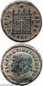 RARE ROMAN COIN AE 3 CONSTANTINE II CAESAR VIRTUS CAESS S.F ARELATE , CAMP GATE