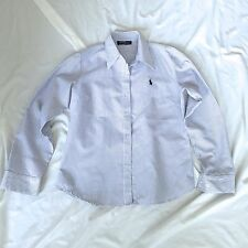 NEW WOMENS POLO RALPH LAUREN BLUE WHITE STRIPED SHIRT BLOUSE WRINKLE FREE SMALL