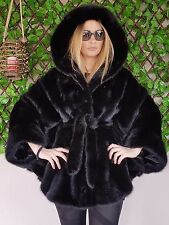 REAL NEW MINK FUR COAT CAPE BLACK HOOD NAFA MEXA NERZMANTEL FOX SABLE CHINCHILLA