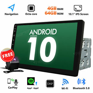 """CAM+ 10.1"""" 2DIN Android 10 Car Radio Bluetooth Stereo Octa Core WIFI GPS Player"""