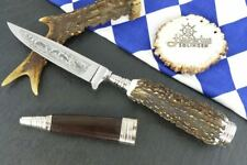 HUBERTUS GERMANY TRADITION HUNTING ANIMAL SCENE KNIFE w.  STAG CAP / STAG HORN