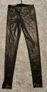 SEXY Kunstleder Glanz Wetlook Leggings Hose schwarz Divided Gr. 36  glänzend