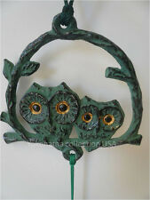 Japanese Furin Wind Chimes Bell Nambu Cast Iron Green Owl Design/ Made in Japan