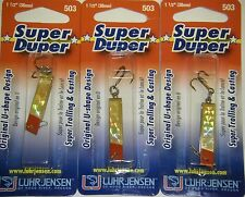 LUHR JENSEN SUPER DUPER TROUT FISHING LURES #1303-503-0151 BRASS GOLD PRISM 3 PK