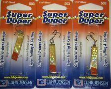 LUHR JENSEN SUPER DUPER TROUT FISHING LURES #1303-503-0151 BRASS GOLD PRISM 3 PK
