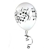 Music Notes Musical Party Latex Balloons(12)White Balloons Black Notes