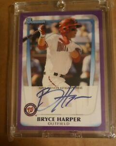 2011 Bowman Bryce Harper Purple Autograph  Auto Re Print Rookie