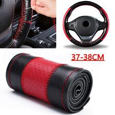 Leather 37-38cm DIY Car Steering Wheel Cover W/ Needle Thread Tool Set Black+Red