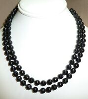 "Exquisite Vintage 1950's Double Strand Genuine 7mm Black Pearl 16""  Necklace"