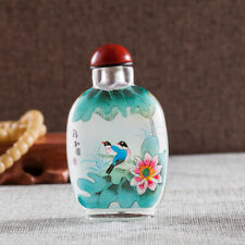 Inner Painting Snuff Bottle Chinese Antique Auspicious Lotus and Bird