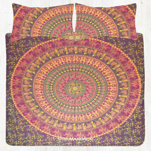 Indian Elephant Mandala Bed Cover Hippie Bedding Bed Sheet Pillow Cover Set