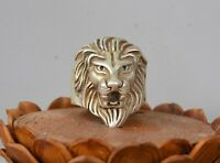 3CM Old Chinese Miao Silver lion Leo Head Beast Jewellery Hand Ring