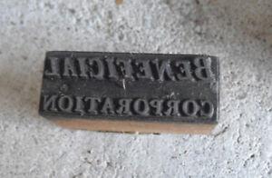 Vintage Beneficial Corporation Wood Metal Letterpress Print Block Stamp