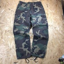 vtg made in usa woodland camo cargo combat pants canvas print size L 34