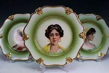 Rosenthal Porcelain Gold Green Transfer Portrait Plate Plates Set of 3