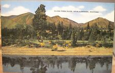 Montana Postcard CLARK FORK RIVER Columbia NEAR ALBERTON Mont Linen Kropp