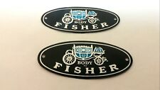 55-81 Chevy Door Sill Scuff Plate Body By Fisher Aluminum Emblem Decal Tag Pair