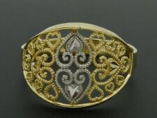 Real 10K Yellow Solid Gold detailed diamond cut filigree Ring
