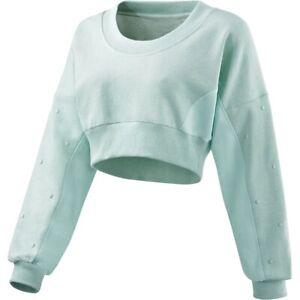Adidas Stella McCartney Sweatshirt Pullover kurz Fitness Gym Work Out mint grün