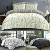 Printed Bedding Set Reversible 100% Cotton Duvet Cover Double Super King Size