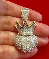 1.50 Ct Round Cut Diamond 14k Yellow Gold Finish Crown Puffy Heart Pendant Charm