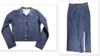 BeBop Womens 8 S Vintage 90s Denim Skirt Suit Blazer Jacket Stretch Long outfit