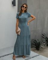 Long Sleeve Casual Fashion Maxi V Neck Women Womens Party Loose Dress beach