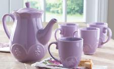 NEW Princess House Marbella Lilac Tea/Coffee Pot with Mugs 4978