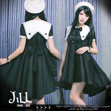 Japanese Lolita Goth Black Mage Poker Magician Sailor Collar Shirt Black Dress