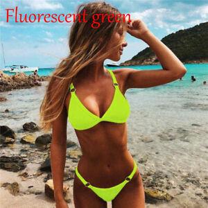 Womens Sexy Bikini Set Swimsuit Triangle Swimwear Thong Beachwear Bra Set Hot