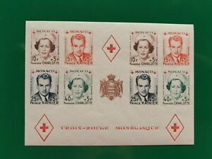 MONACO 1949 MNH RED CROSS IMPERFORATE ON SHEET Yvert 334-337B UNMOUNTED MINT