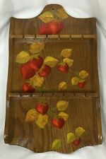 Vtg Wood Spoon Jewelry Rack Hand Painted Strawberry Fruit Chic Shabby Farmhouse