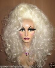 Drag Queen Costume Party Wig White Blonde Big Long Teased Out Curls No Bangs