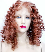 REAL Human Hair Full Lace Wig Indian Remi Remy Auburn Red Blonde Curly Wavy Long