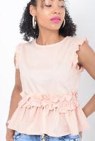 Womens Pink Ruffle top Ladies frill sleeve blouse Waist Detail T shirt