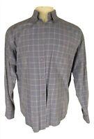 Ermenegildo Zegna Mens Blue Plaid Long Sleeve Cotton Shirt L Italy