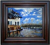 Framed Sisley Bank during Flood Repro, Quality Hand Painted Oil Painting 20x24in