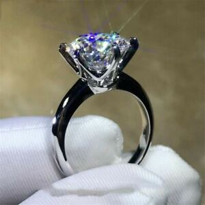 3.00 ct Round-Cut Diamond Solitaire Brilliant Engagement Ring White Gold Over