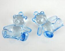 10 pcs oursons teddy acrylique Bleu embellissement décoration baptême  naissance