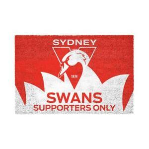 AFL SYDNEY SWANS PVC BACKED FRONT DOOR MAT WITH TEAM LOGO