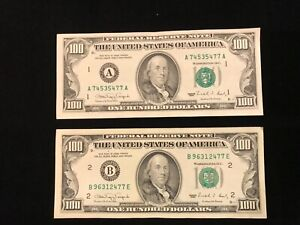 1990  (2) $100 FRN Legal Tender UNITED STATES NOTE Matching End #'s 477
