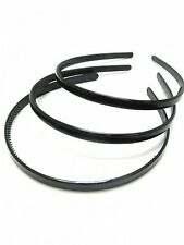 Set of 3 Black Plastic Narrow Alice Bands Hair Bands Headbands - 1cm Wide